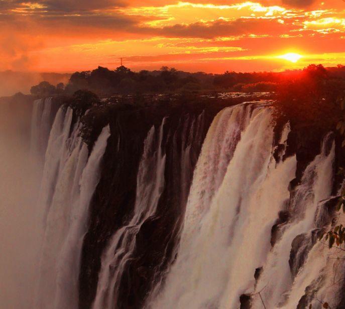Sunset at Victoria Falls